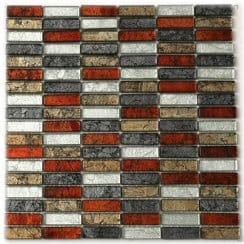 Hong Kong Autumn Mix Brick (1.5cm x 4.8cm) 30cm x 30cm Mosaic