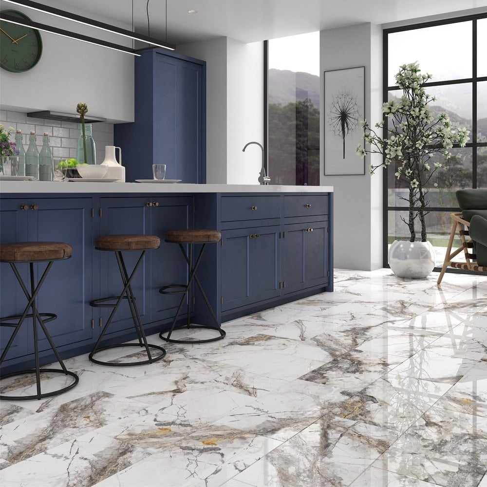Invisible Marble Gloss Porcelain 9cm x 9cm Wall & Floor Tile