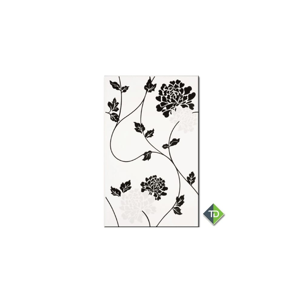Isadore Floral Black Amp White 24 8cm X 39 8cm Wall Tile