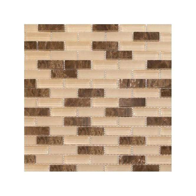 Kitchen Tiles Kenya: Kenya Frosted Emperador Glass Mix 30cm X 30cm Brick Mosaic