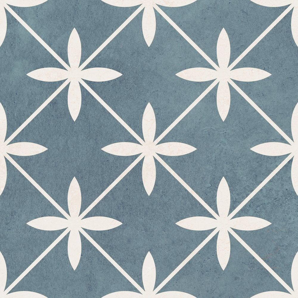 Laura Ashley Wicker Blue 33cm X 33cm Floor Tile