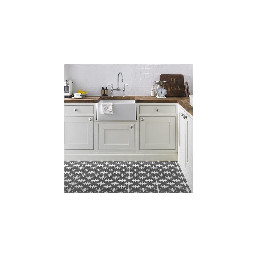Laura ashley bathroom tiles - Laura Ashley Wicker Charcoal 33cm X 33cm Floor Tile