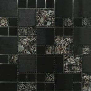 Metallic Random 30cm x 30cm Steel Iris Glass Mosaic