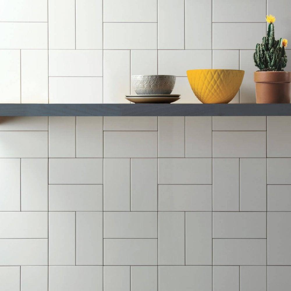 Metro Brick Flat Gloss White 10cm X 20cm Wall Tile