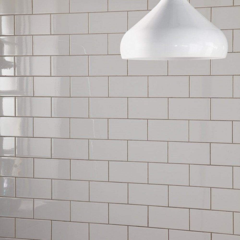 Metro Brick Flat Gloss White 10cm X 20cm Wall Tile
