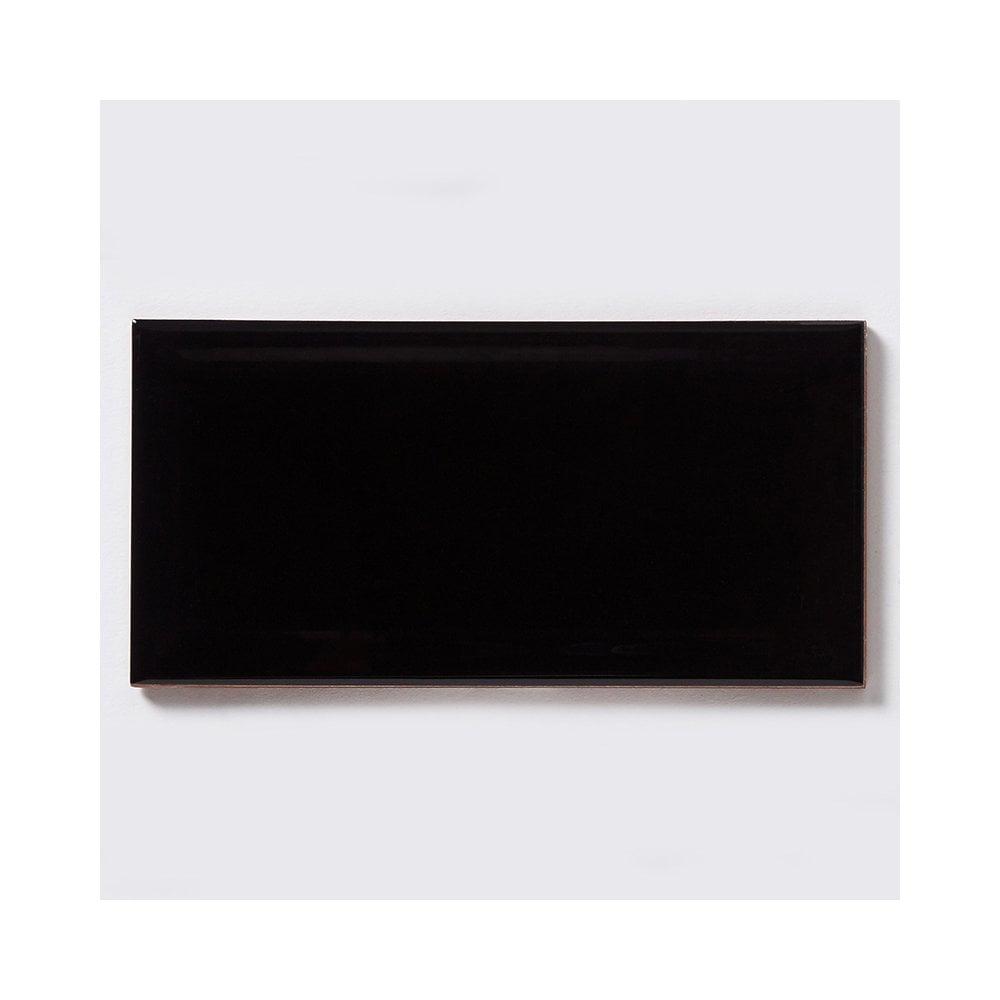 Metro Brick Gloss Black 10cm X 20cm Wall Tile