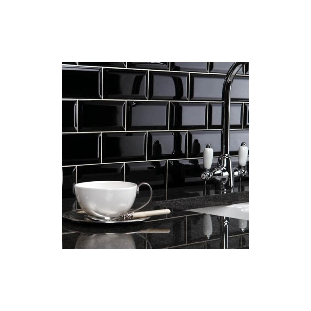 Black Gloss Tiles Wall Tile Design Ideas