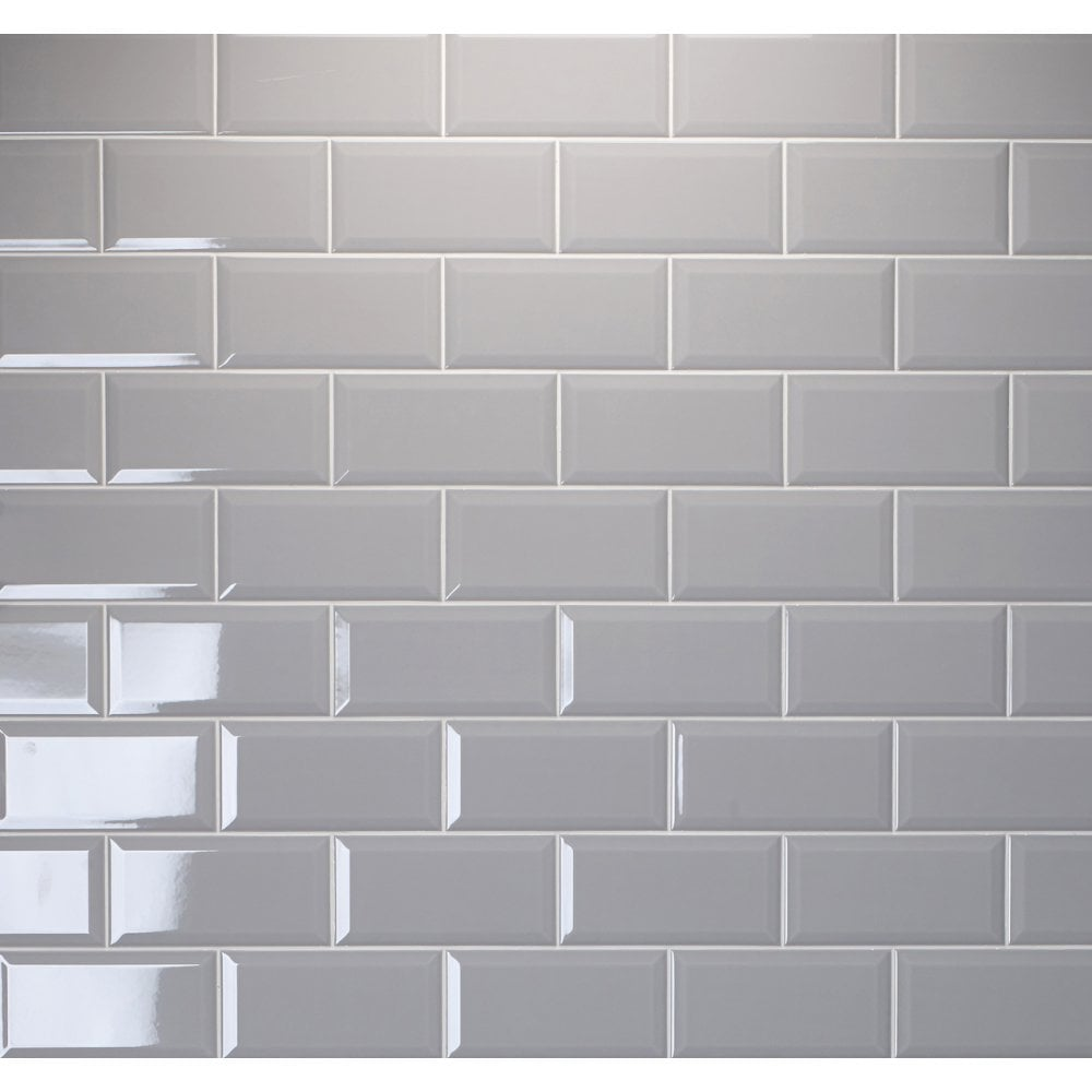 Brick Gloss Grey Ash 10cm X 20cm Wall Tile