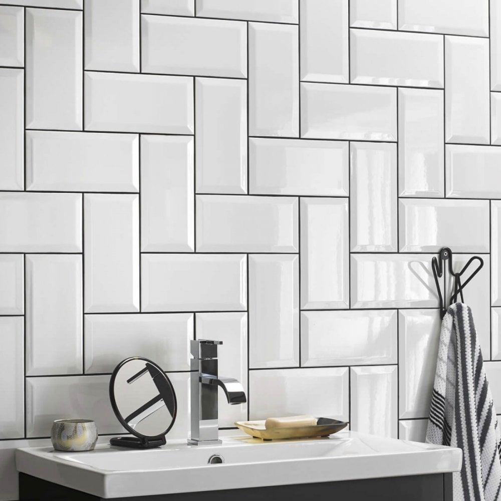White Metro Tiles White Gloss 10cm X 20cm Wall Tile Tiles Direct