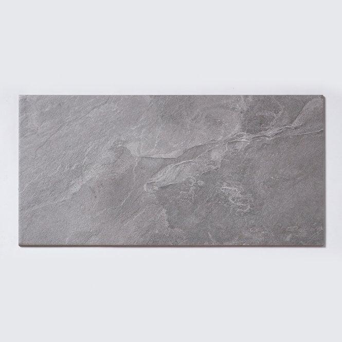 Urban White Stone Effect Ceramic Wall Floor Tile Pack: Noir Stone Effect Light Grey 29.7cm X 59.8cm Wall & Floor Tile
