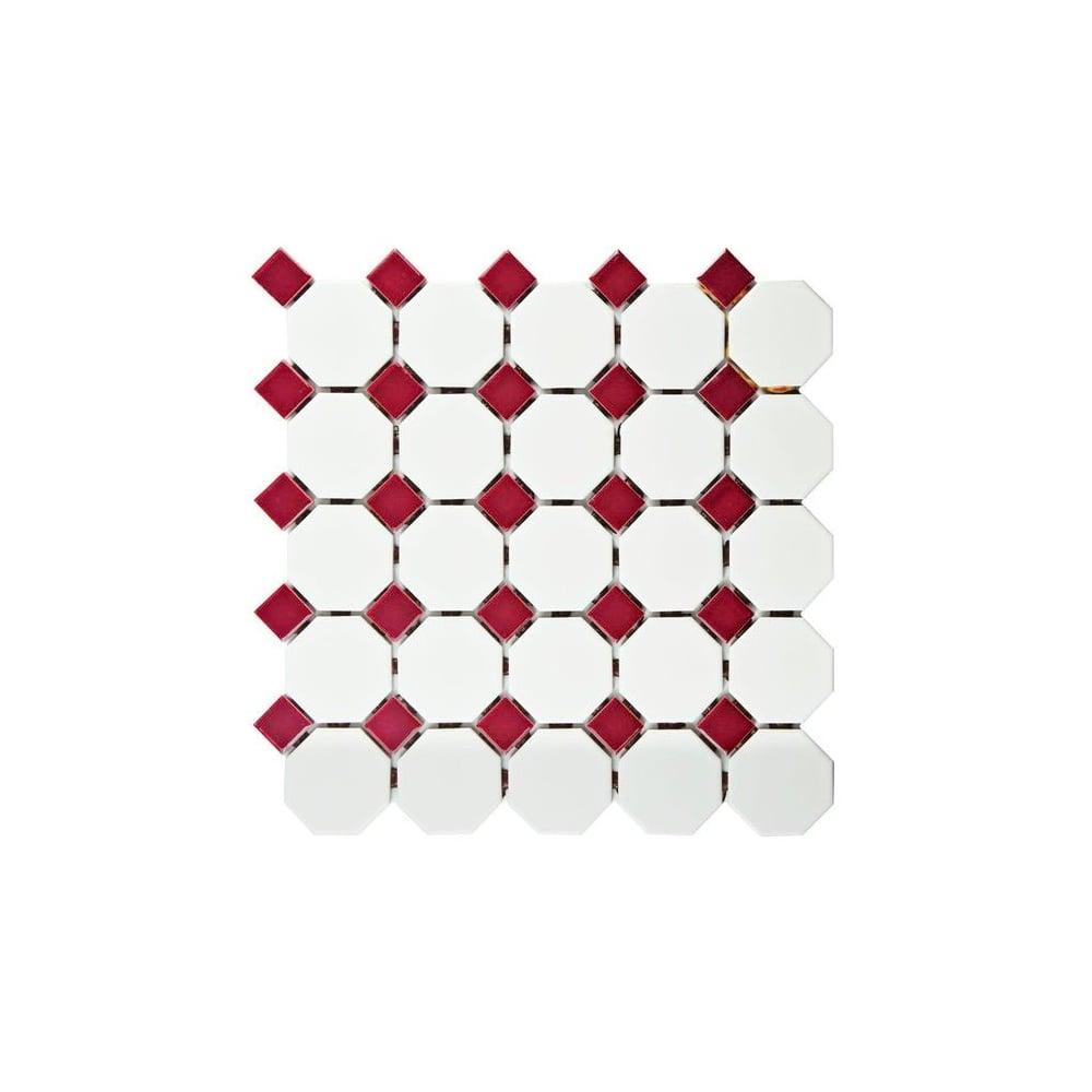 Octagon Red White Matt 31 7cm X 32cm Mosaic Tile