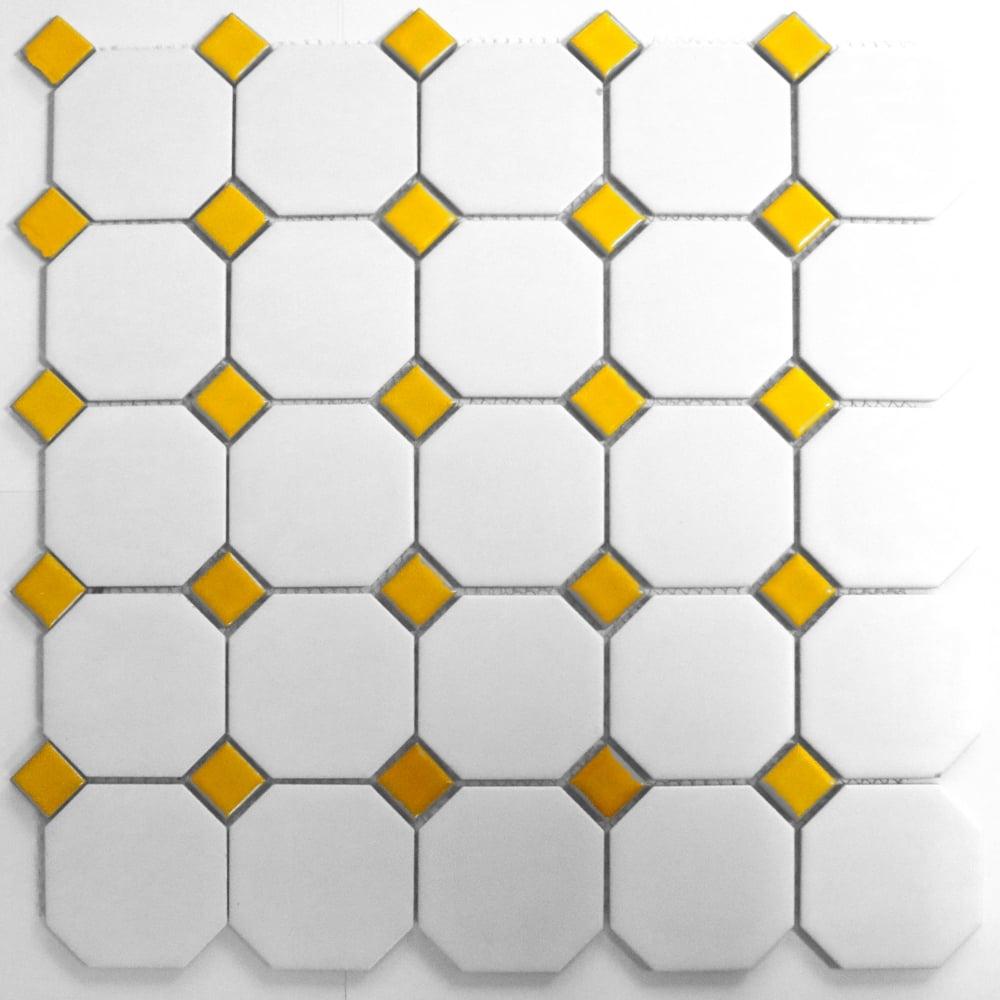 Octagon Yellow White Matt 31 7cm X 32cm Mosaic Tile