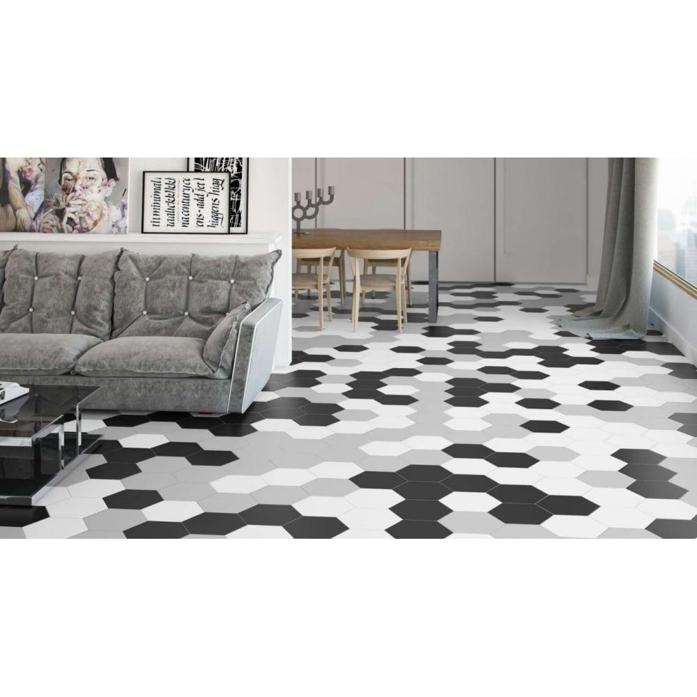 Origami Hexagon White 25.8cm x 29cm Wall & Floor Tile