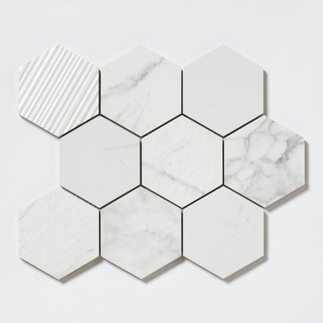 Q Marmi Statuario Hexagon Mix Stone Mosaic 292cm X 341cm Wall
