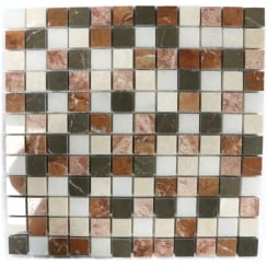 Red Mix Marble 30.5cm x 30.5cm Mosaic Tile
