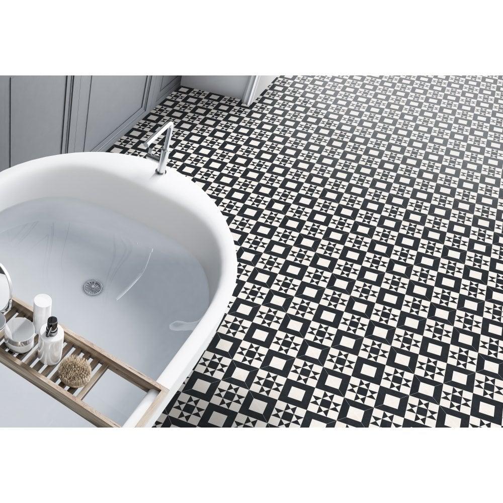 Retro Black Feature Floor 33cm X, Retro Bathroom Floor Tile