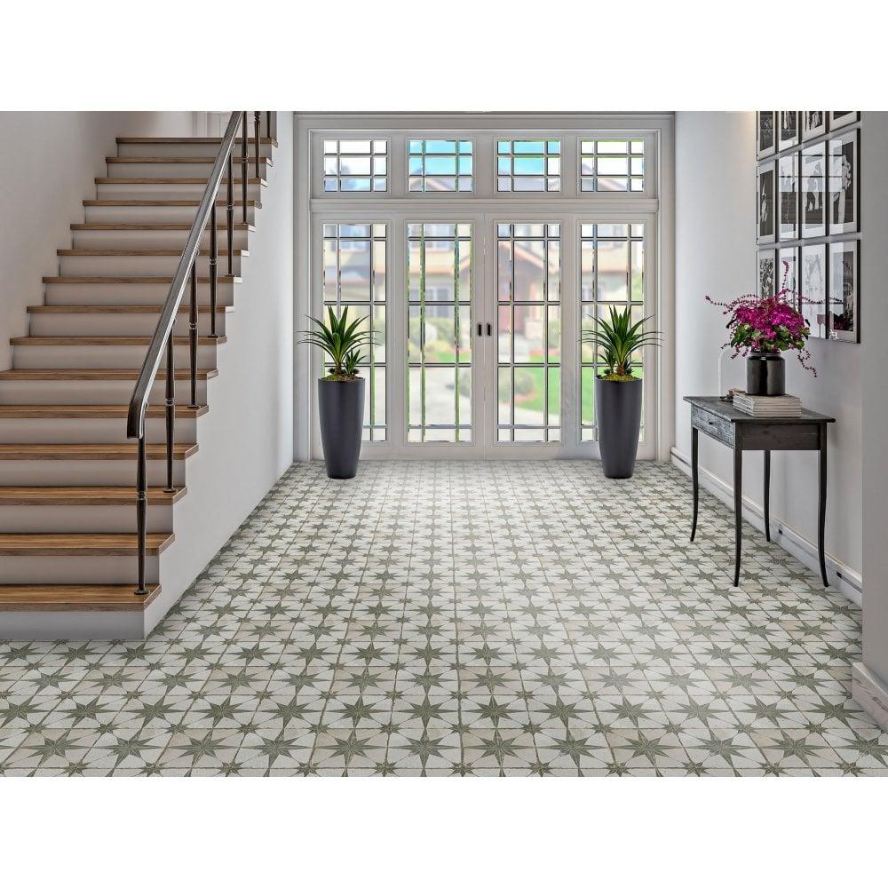 Scintilla Olive Green Star Pattern 45cm X 45cm Wall Floor Tile