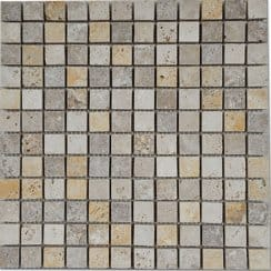 Travertine Noce White Mosaic 30cm x 30cm Wall Tile