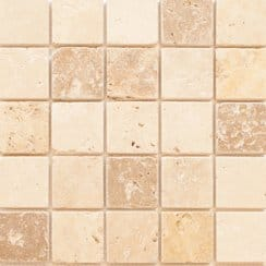 Travertine Noce White Yellow (4.8cm x 4.8cm) 30cm x 30cm Travertine Mosaic