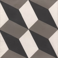 Vintage Contempo Black 20cm x 20cm Wall & Floor Tile