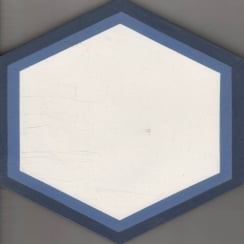 Vintage Hexagon Blue 20cm x 20cm Wall & Floor Tile